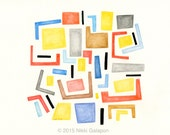 Primary 2: original abstract watercolor modern art red blue yellow grey black geometric shapes contemporary decor
