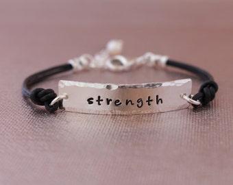 Sterling Silver Inspiration Hand Stamped Bracelets- Faith, Survivor, Strength, Believe & Hope