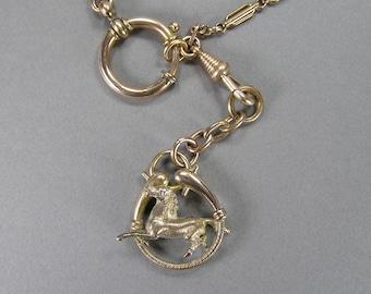 Antique Horse Fob, Watch Chain, Pocket Watch Chain, Fancy Link, Edwardian, Victorian, Boho, Horse Lover, 3D