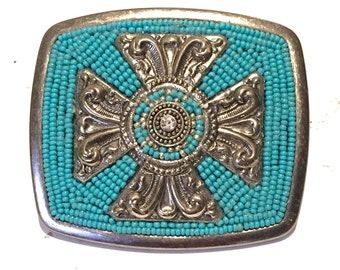 Turquoise and Crosses Belt Buckle