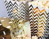 100 Gold and Silver Foil Mini Popcorn Boxes, Wedding Favor Boxes, Graduation Party Favor Boxes, Mini Dessert Boxes, Snack Boxes