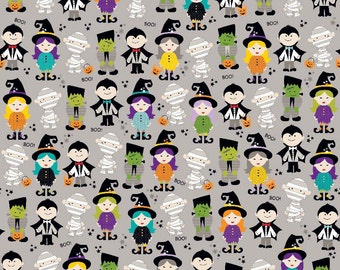 Riley Blake Halloween Magic Parade Grey - Zombie, Mummy, Frankenstein, Dracula, Witch - Cotton Fabric - Choose your cut