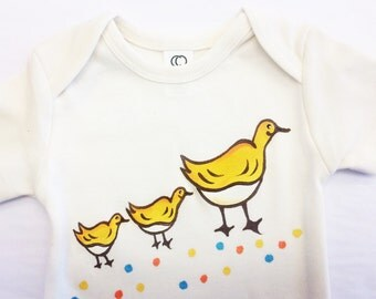 Make way for Ducklings, Organic Cotton baby bodysuit, boston commons, baby shower gift.