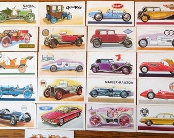 Vintage Car Cards Brooke Bond History of the Motor Car Collectibles set of 21 Original 1968 printing