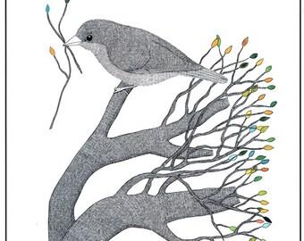Art illustration print, Pen and ink bird drawing, Graphic art, 10 x 8 nature print, Black and white illustration, Bird in tree, Bird art