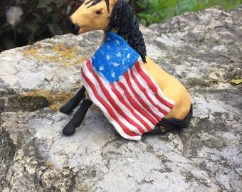 Patriotic Buckskin Horse Sculpture