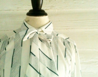 Vintage White Secretary Shirt - White, Green, Gray Striped Retro Blouse w Detachable Necktie