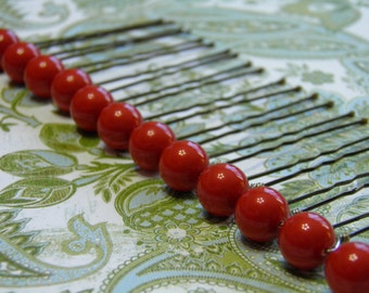 12 Coral Red 8mm Swarovski Crystal Pearl Hair Pins