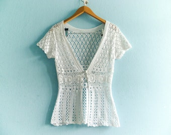 Vintage White Crochet Top Summer Short Sleeves Buttoned See Through Sheer Net Knit Knitwear / extra small