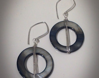 Deco Shell Earrings, sterling Silver wrapped