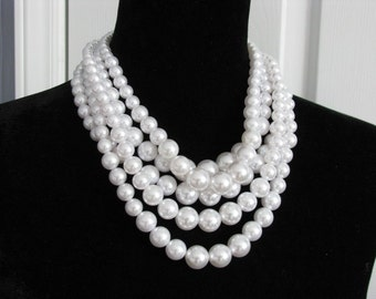Statement Wedding Necklace in  silver tone and White Faux Pearl Great Bridal Wedding Jewelry Pageant Jewelry