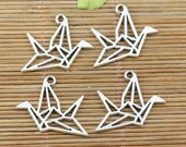 Origami Crane Bird Charm Pendant 22x12.5mm Silver Metal SALE USA