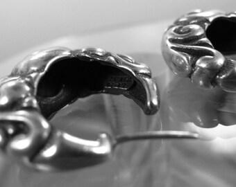 Earrings (Post) J-Hoop Vintage Sterling Heavy 23 Grams Signed (Taxco) TM-90 Mexico   (88.240)