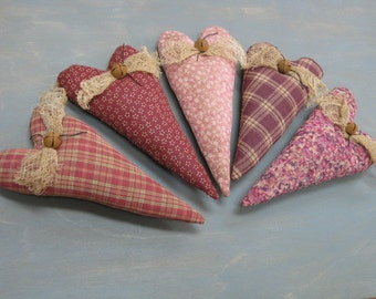 Valentine's Day Heart Bowl Fillers - Set of 5 - Primitive - Homespun & Calico Grungy Fabrics - Wedding - Anniversary -Valentine  Home Decor