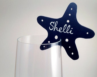 25 Place Cards, Sea Themed Wedding, Wine Glass Decor, Starfish, Ocean Theme, Original calligraphy, Cutout, Scrapbook, Paper Cut by Naboko