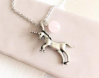Unicorn Charm Necklace, Rose Quartz Necklace, Cute Necklace, Unicorn Jewellery, Unicorn Pendant, Gemstone Jewellery, Gemstone Necklace, Teen