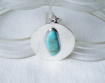 Vintage Sterling Silver Turquoise Stone Modernist Pendant for Necklace