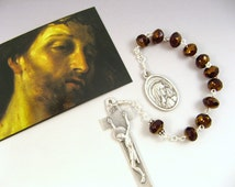 Holy Face and Sorrowful Mother Rosary Bead Tenner - Single Decade Rosary - Catholic Devotion
