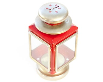 Vintage lantern style display, candle holder or bank, red and gold