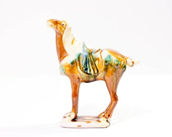 Vintage ceramic horse figure Chinese Imperial war horse sculpture brown Asian tang sancai reproduction