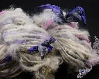Handspun art yarn Jannes locks with silk ribbon and lace, 3.5 oz, 47 yards