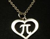 Silver Heart PI Necklace - PI Jewelry - Teacher Appreciation Necklace - Math necklace - Math Jewelry - Math Teacher Gift - PI Day Gift