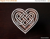THANKSGIVING SALE Wood Block Stamp, Tjaps, Indian Wood Stamp, Pottery Stamp, Textile Stamp, Hand Carved - Celtic Heart