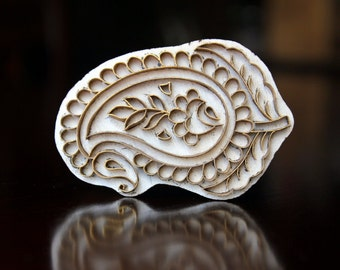 Pottery Stamps, Indian Wood Stamp, Textile Stamp, Wood Blocks, Tjaps, Printing Brass Stamp- Paisley
