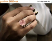 VALENTINES DAY SALE - Rose quartz ring,silver ring,gemstone ring,love gemstone ring,girlfriend gifts,cocktail ring