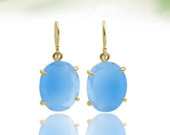 SALE - Gold earrings,blue chalcedony earrings,oval stone earrings,faceted earrings,blue earrings,gemstone earrings,gift for mom