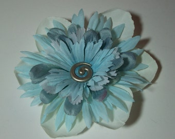 Fashion Flower Accessory, Smokey Blue and White Hair Clip or Lapel Pin, Flower Pin or Hair Clip, Something Blue