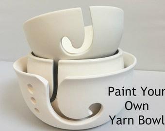 DIY Paint Your Own Yarn Bowl   Ceramic   Yarn Bowl   Choose your size  Handmade Ceramic from my Charleston, SC studio