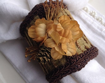 Handcrafted Autumn Napkin Rings Brown Flowers w/ Pinecones - #58