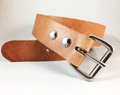 "Oiled Leather Belt - 1.5"" in Strap Width - Handmade"