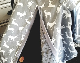 car seat canopy / car seat cover / car seat tent / nursing cover Grey Deer Grey Minky YOU choose MiNkY buck carseat cover