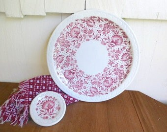 Syracuse Restaurant Ware Dinner Plate and Butter Pat Plate; Red Roxbury Econo Rim