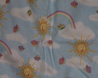 Rainbow, Cloud, Sun, and Butterfly Crib/Toddler Bed Fitted Sheet