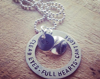 Hand Stamped Aluminum Necklace with Clear Eyes Full Heart Cant Lose Baseball Softball and Team Number