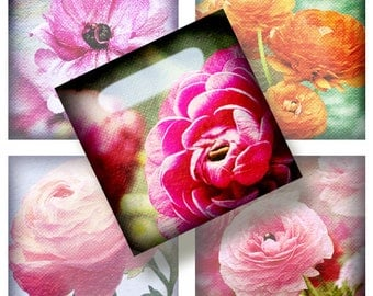 Garden flowers - 35 1x1 Inch Square JPG images - Digital Collage Sheet