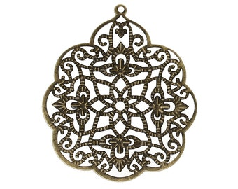 Filigree : 10 Antique Bronze Filigree Connectors | Filigree Metal Jewelry Stampings | Filigree Links - Lead, Nickel & Cadmium Free 14285.T