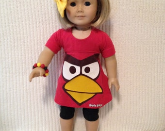 18 inch Doll (modeled by American Girl) Angry Bird knit dress with black leggings, bracelet and hair bow
