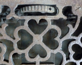 Cast Iron Antique Floor Grate, Register, Ornate with venting