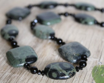 Kambaba Jasper, Onyx, and Swarovski Crystal Necklace / Green, Black, Sage  / Chunky Necklace / Gemstone / Jasper / Onyx / Gifts for Her