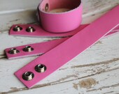 Leather Cuff Bracelet - 3/4 Inch Wide Genuine Leather in Bright HOT PINK - Cuff Wristband - Cuff Blank - Hand Stamped Jewelry Supply