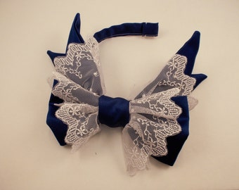 Royal Blue and White Sidebow