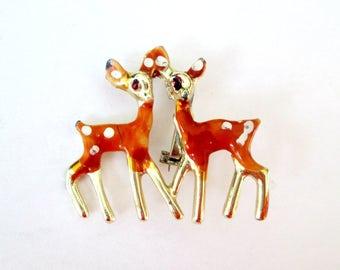 1960s Bambi Reindeer Enamel Pin Brooch