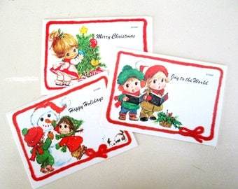 Assorted Christmas Holiday Post Cards // Vintage 1970s Postcards Merry Christmas Happy Holidays