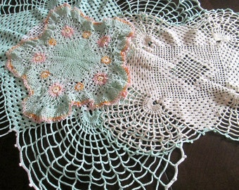 Cotton Lace Doilies 1930s 1940s Pink Green White Matching Set of 3