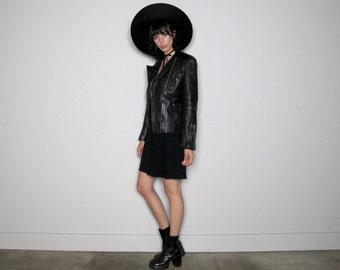 BLACK LEATHER Moto Inspired Jacket Womens Rocker Chic Vintage 80s VTG Size S/M