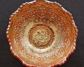"Fenton Marigold carnival glass ""PERSIAN MEDALLION"" 5 inch bowl"